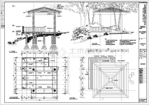 北方一图纸内炭化柜子亭别墅施工图_cad木方cad结构透视图片