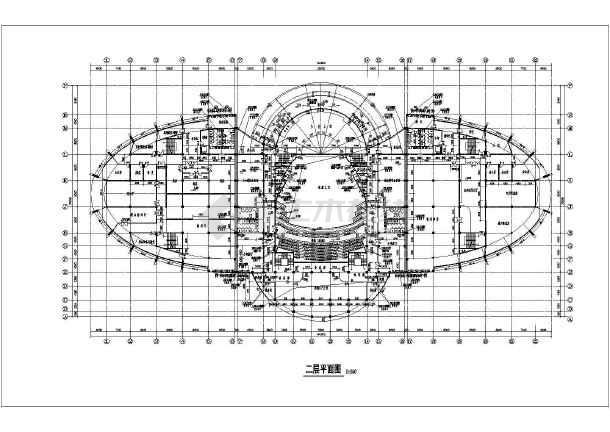 某地三层框架结构文娱中心建筑方案图