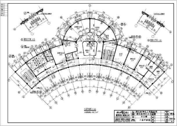 某五层圆弧形办公楼建筑设计方案图黄石室内设计公司图片
