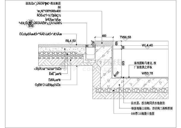 简介:标准小区游泳池景观设计施工图,含有平面图,立面图,剖面图,大样