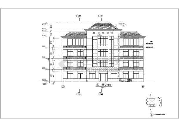某地四层字体框架坡屋顶办公楼诚信施工图建筑结构图形六合无绝对片