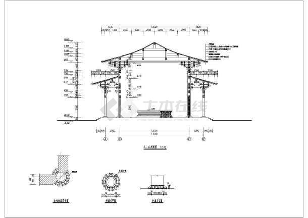 图纸包含以下内容:包括平面图,立面图,剖面,梁架仰视,屋顶俯视等共计