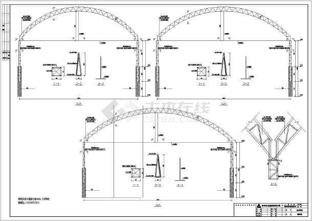 32米跨钢结构图纸井子柱桁架施工图_cad图纸看结构如何弱电工程图片