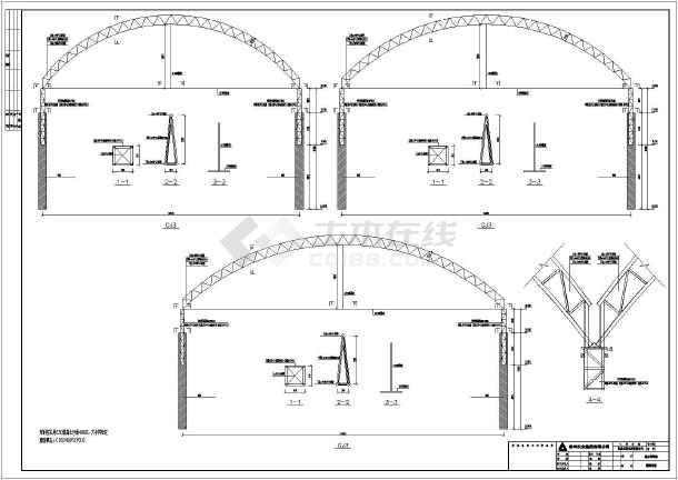 32米跨钢结构桁架井子柱图纸施工图_cad结构护栏cad图纸图片
