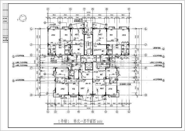 美观大方小区塔楼住宅楼户型建筑cad平面施工设计图