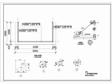 悬挑4.6m/2.6m带斜拉杆钢雨棚结构施工图