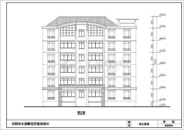 某小区多层框架结构住宅建筑设计方案图纸,该图纸包括:建筑各层平面图