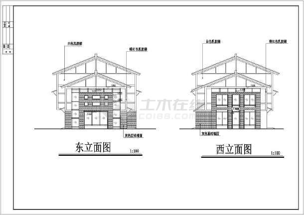 三层框架结构仿古商业街建筑设计施工图纸,该图纸包括:建筑各层平面图