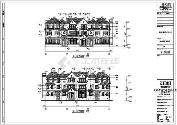 萧山三层框架结构别墅建筑设计施工图