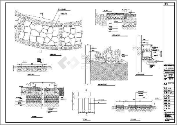 溪底座架空砖拢平面图,步石平面图 ,标准道路剖面图 ,湖底结构图