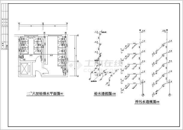 某6层写字楼卫生间给排水零件(含图纸图)_cad系统增压器详图涡轮图片