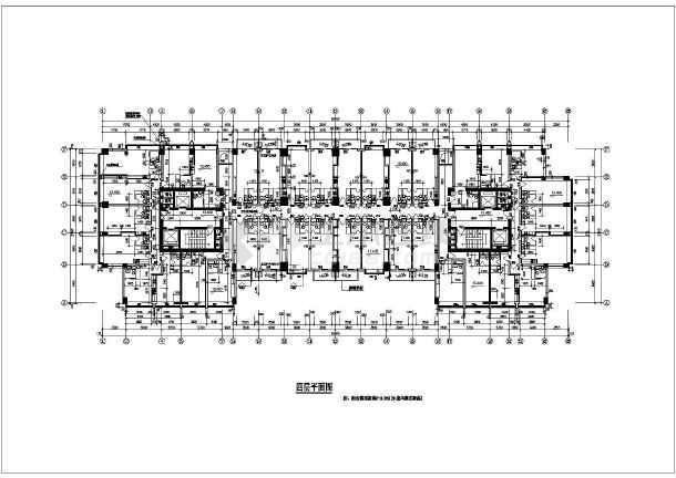 某地多层公寓平面图(含建筑面积)-图3