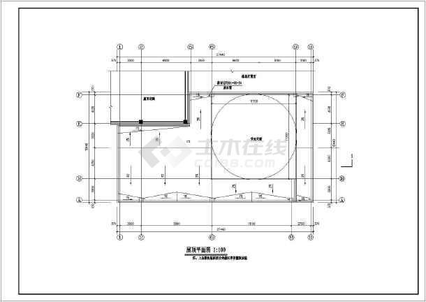 某高层框架办公楼顶游泳池建筑设计施工图