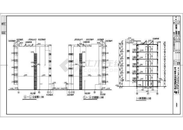 该图为某地六层砖混结构廉租房建筑施工图,为五单元一梯两户住宅,户型