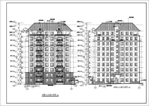 某地十层剪力墙结构住宅建筑方案图,图纸包括:地下1层平面图,设备管道