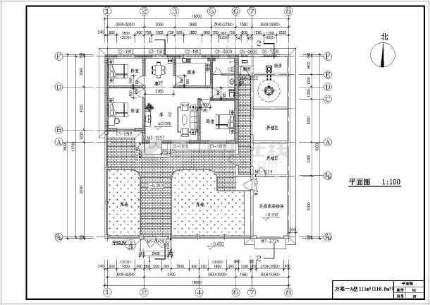 农村五套单层住宅楼建筑设计方案图 (610x432)-某地单层仿古门楼