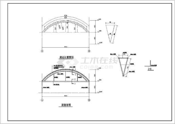 16米跨度轻钢结构(拱形轻钢屋架)农贸市场结构施工图