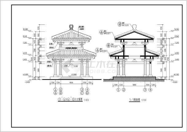 【苏州】某古建亭子建筑设计施工图纸