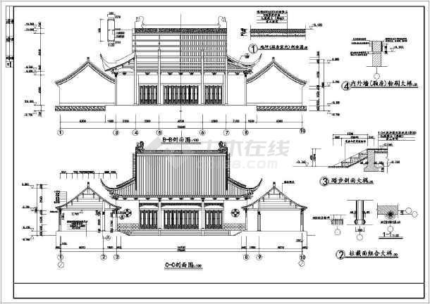 财神殿全套木结构仿古建筑施工图纸