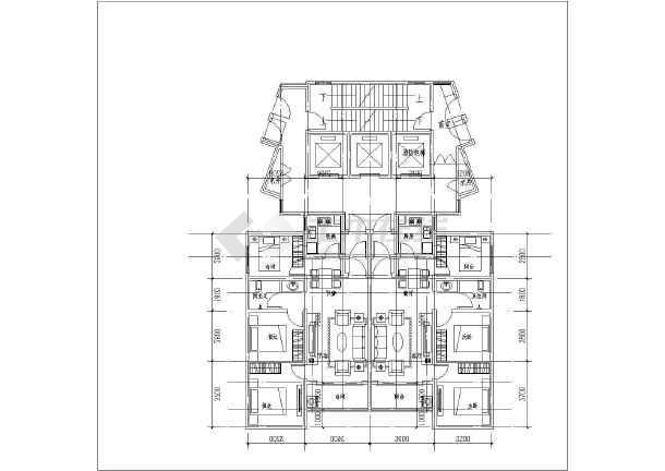 32层高层一梯六户小户型平面布置图