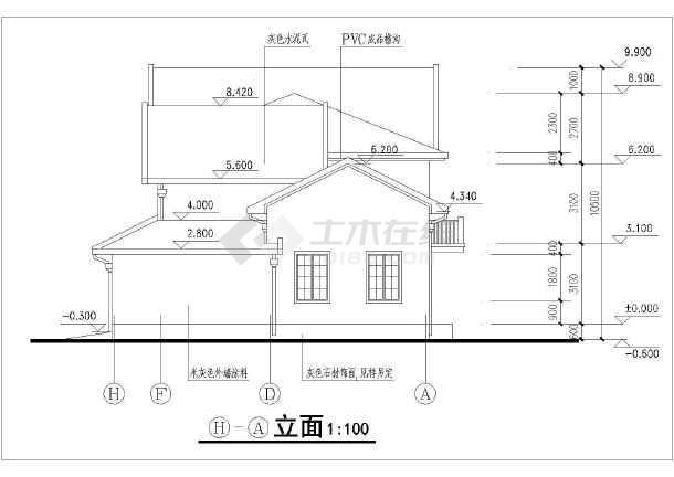 某地小别墅f型建筑设计平立剖面施工图