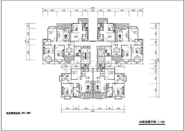 某地多层户型平面图(含建筑面积)-图1