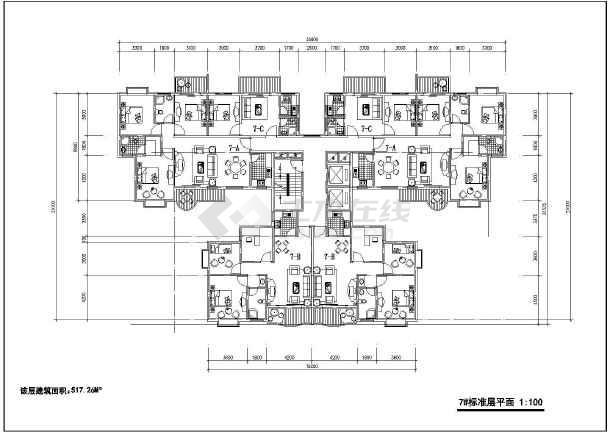 某地多层户型平面图(含建筑面积)-图3