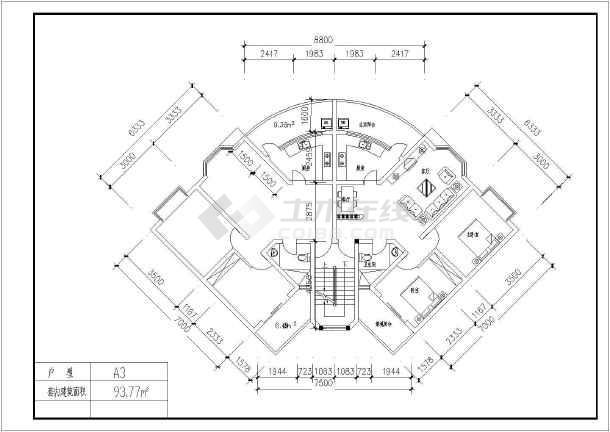 某地经典户型建筑图(含建筑面积)-图2
