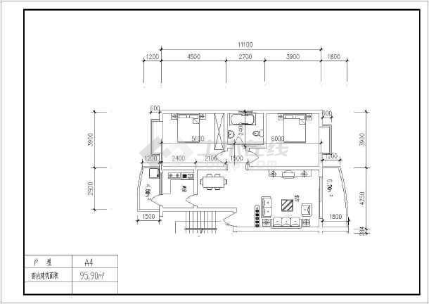 某地经典户型建筑图(含建筑面积)-图3