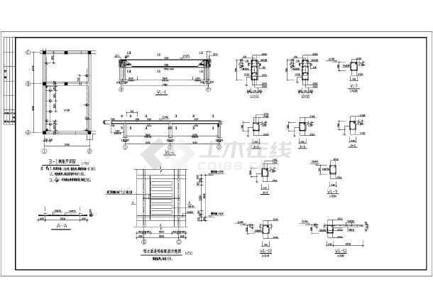 五层砖混结构小学教学楼建筑施工设计图,内容包括:结构平面图,圈梁
