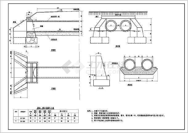 某处的小型灌区圆管涵方案设计施工图