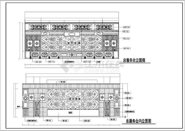 某地框架结构酒店大堂部分室内装修设计方案图