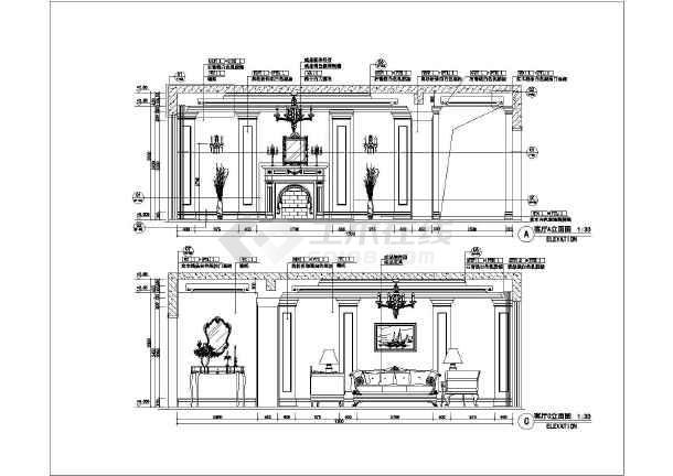 某地三室两厅两卫欧式虚线建筑装饰设计施工图v虚线表示是梁图纸什么梁风格图片