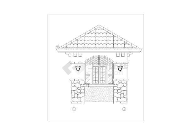 简欧式别墅门卫室图纸建筑施工小区_cad图纸获取那里能够详图景观图片