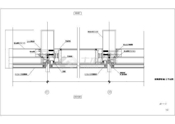 全隐框玻璃幕墙建筑设计及详细施工图_cad图纸下载