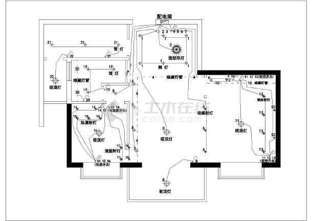 某地两室一厅一厨一卫商品房装饰设计施工图_cad图纸