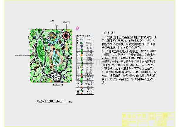 校园小型游园景观设计平面图(学生设计)图片1