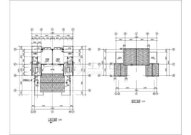某三层豪华双拼别墅建筑设计图(长15.7米 宽13.2米 )