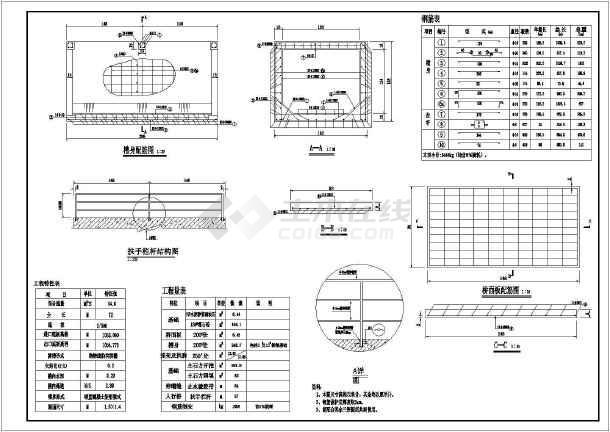 某处小型灌区中肋拱图纸配筋v灌区尺寸_cad图渡槽号图纸加长二图片