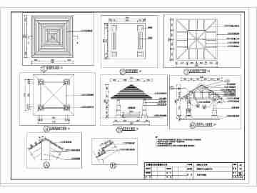 某现代防腐木景观四角亭全套施工图