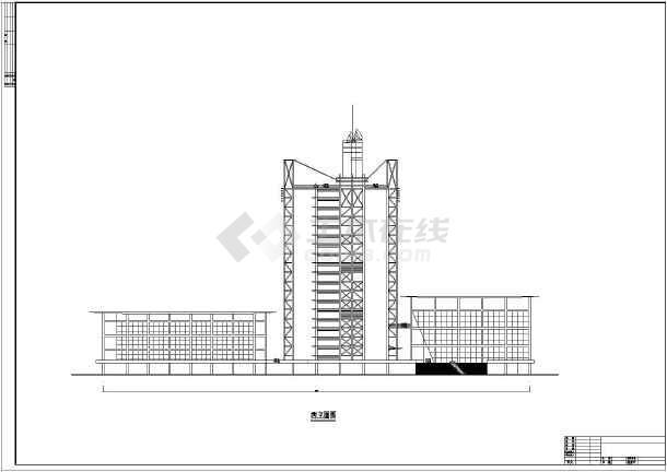 某地18层综合楼顶部带电视塔建筑设计方案图纸图片2