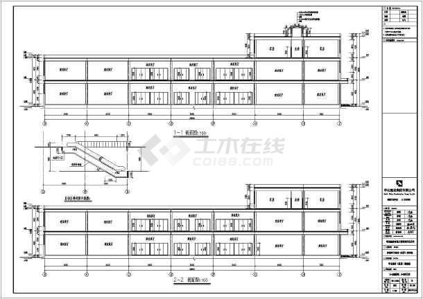 某地3层门式钢架轻钢结构建材城完整建筑图