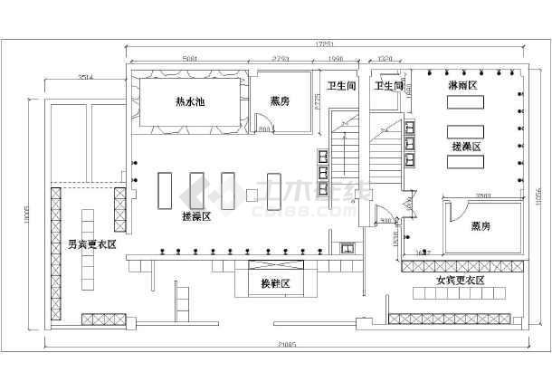 某地大众洗浴中心平面布置图