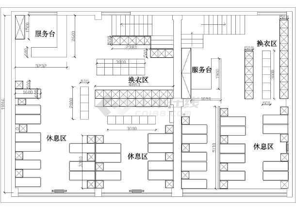 图纸 装修设计 装修方案节点详图 室内设计方案 某地大众洗浴中心平面