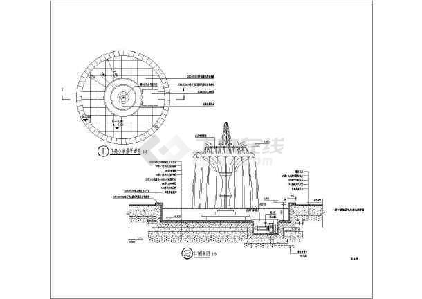 小品及配套设施 水景喷泉设计图 园林景观节点的水景及廊架详细施工图