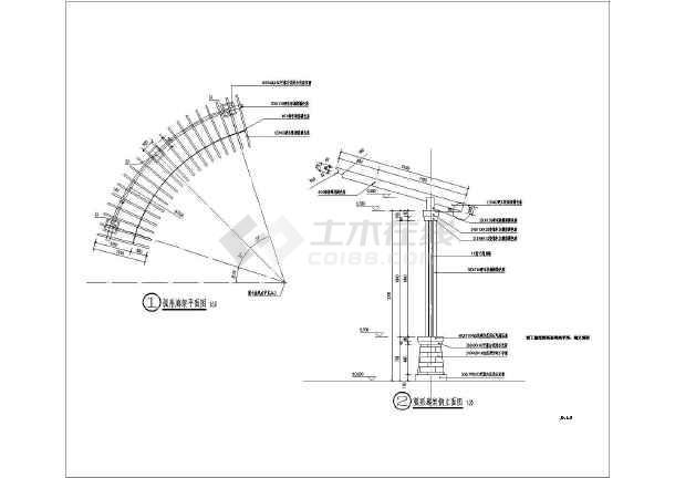 园林景观节点的水景及廊架详细施工图