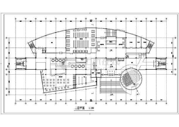 某地4层框架结构异形平面图书馆建筑方案图