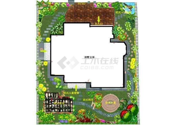 别墅别墅v别墅彩平图平米双拼庭院二百图片