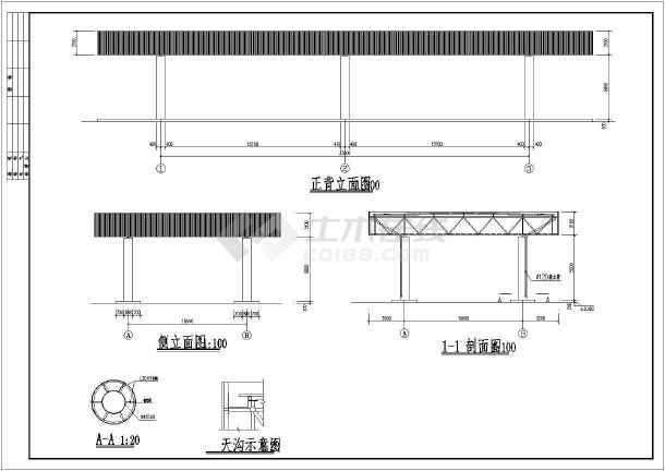 某地钢结构网架结构收费站设计施工图