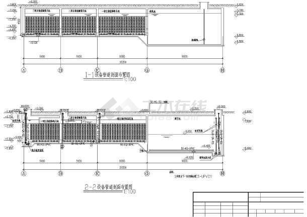地上一层设备及管道平面图布置图,总平面图,污水站高程图.